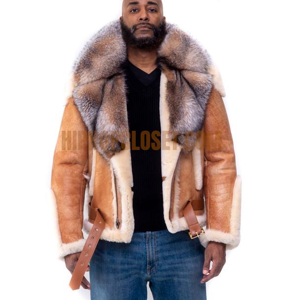 Crispy Sheepskin Pilot Jacket with Fox trim Hood