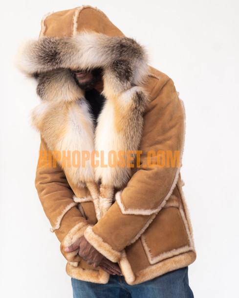 Three Quarter Tonka Sheepskin with Fox Fur Collar and Trim