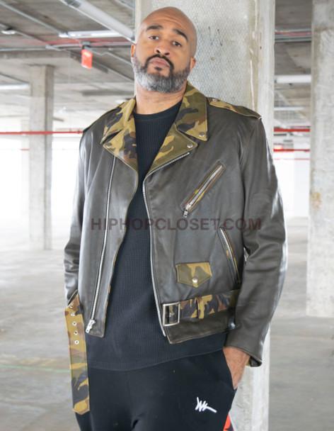 Camoflauge Leather Bikers Jacket