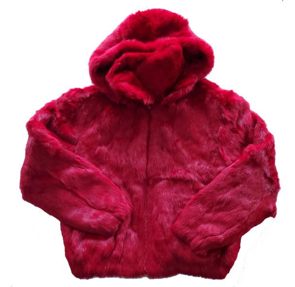Ladies Red Fur Bomber Jacket