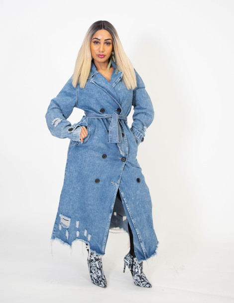Ladies Denim Distressed Trench Coat