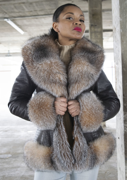 Ladies Short Fur Trimmed Jacket