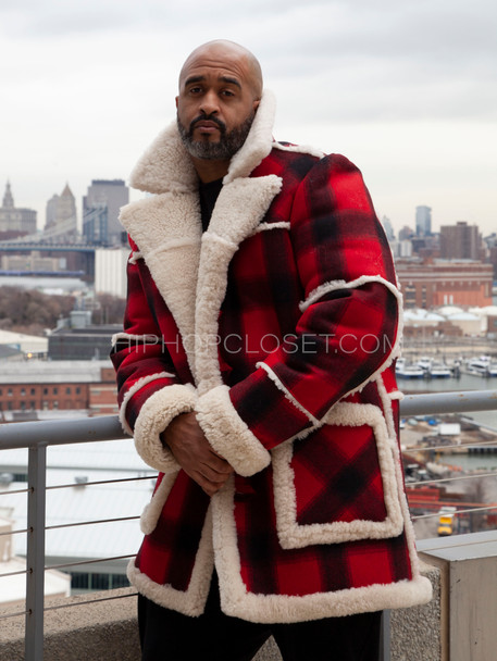 Red and Black Lumberjack Sheepskin Coat