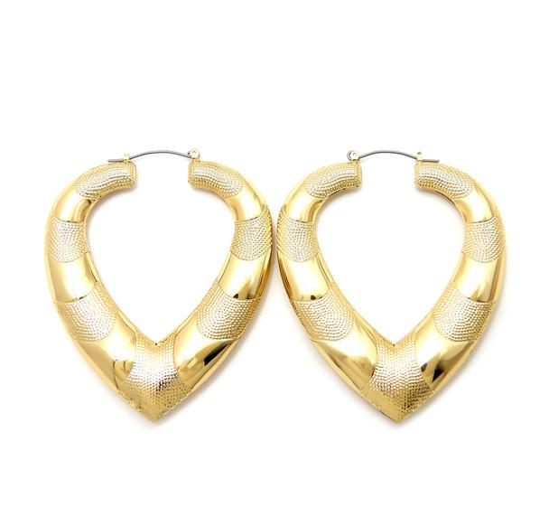 Heart Gold Plated Doorknocker Earrings