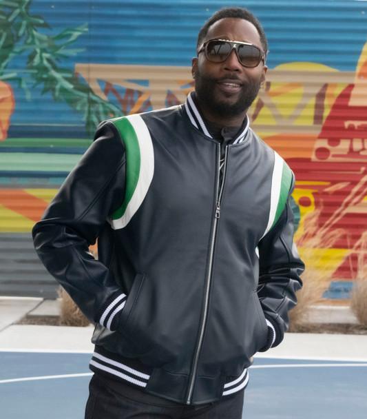 Side Stripes Navy Lightweight Leather Jacket