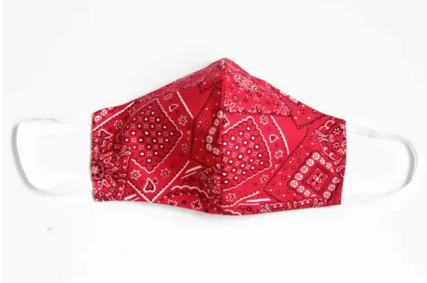 Red Bandana Print Face Cover
