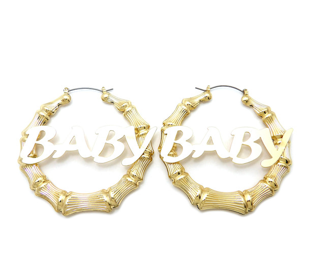 Baby Bamboo Style Hoop Earrings