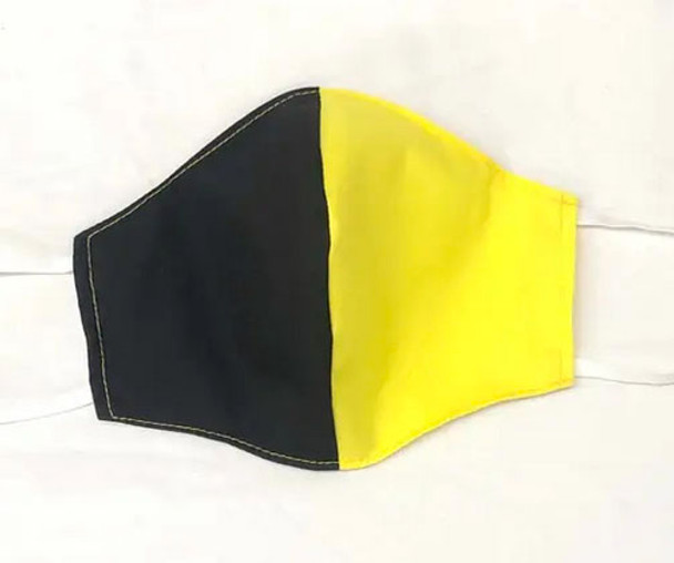 Black and Yellow Face Mask with filter pocket
