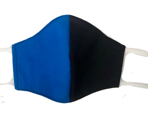 Black and Blue Two Tone Face Mask with filter pocket