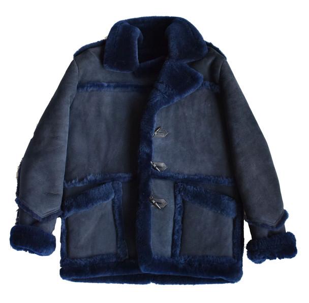 Navy Blue Old School Sheepskin Shearling Jacket