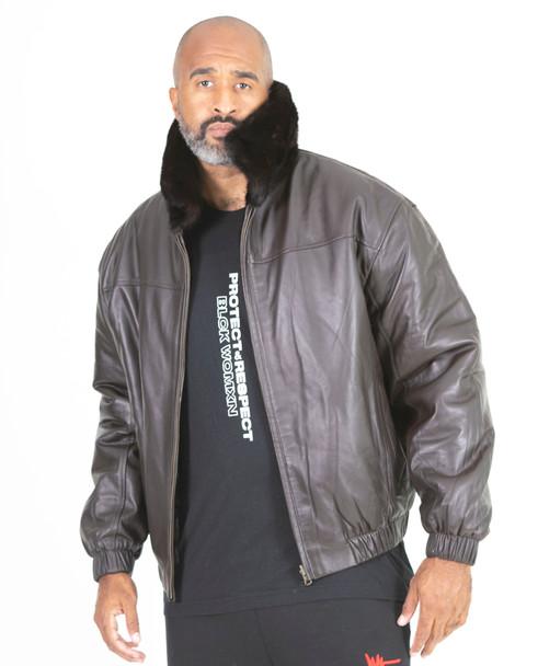 Dark Brown Reversible Full Skin Mink to Leather Bomber Jacket