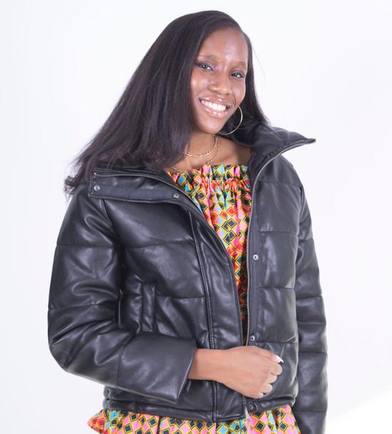 Black Vegan Leather Puffer Jacket