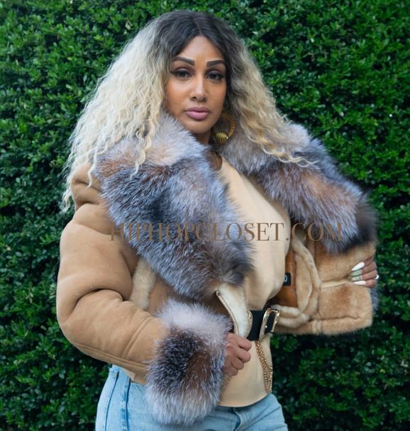 Tan Cropped Sheepskin Jacket with Fox Fur Collar