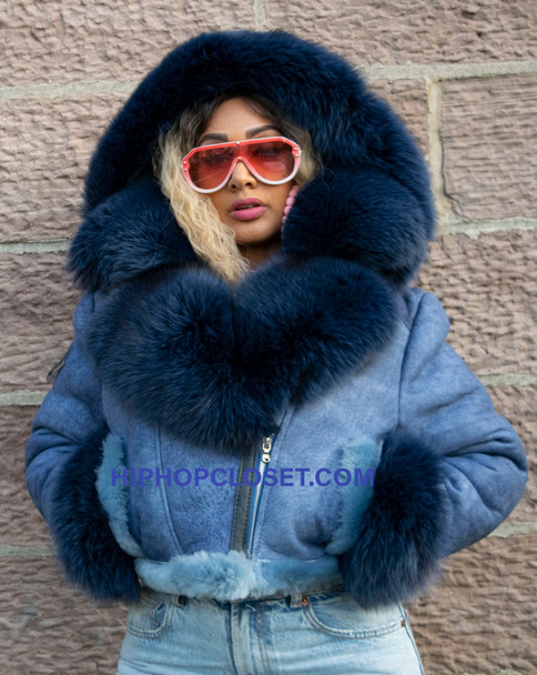 Ladies Blue short Cropped Sheepskin with Fox Fur Collar and Cuff