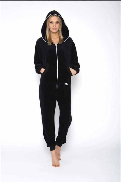 Women Black Velours Onesie