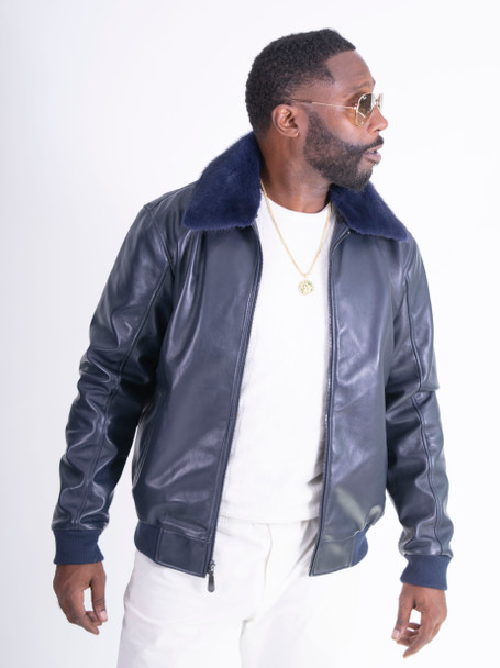 Navy Blue Bomber Jacket with Fur Collar