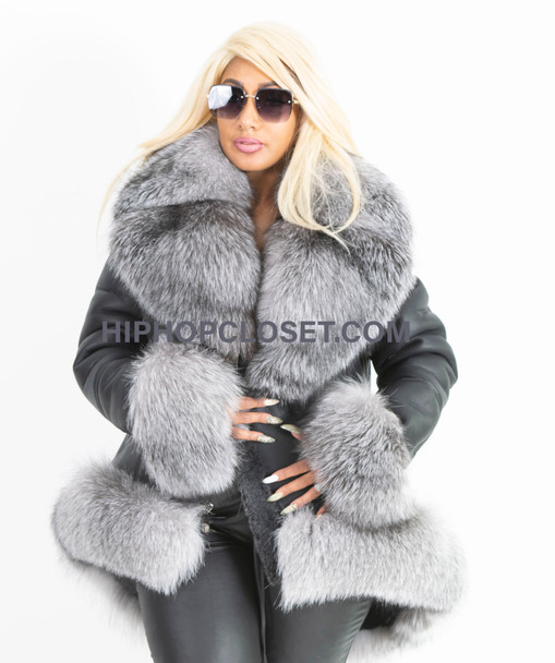 Black high low Sheepskin with fox fur trim coat