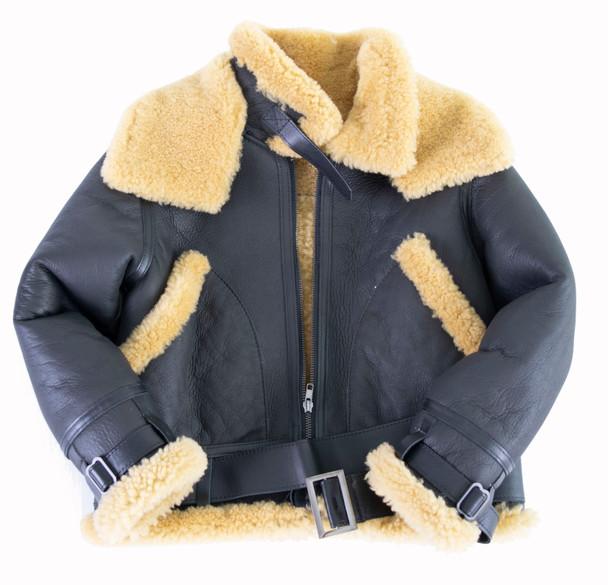 Kids Black B3 Bomber Shearling Coat