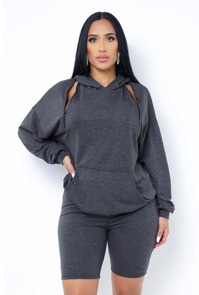 Grey Hooded Two piece Short Set