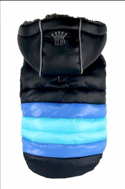 Soft Dog Stripe Puffer Coat - Black