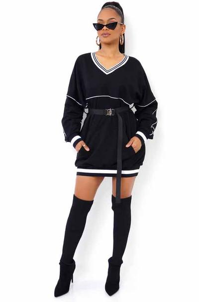 Black V Neck Mini Dress With Belt