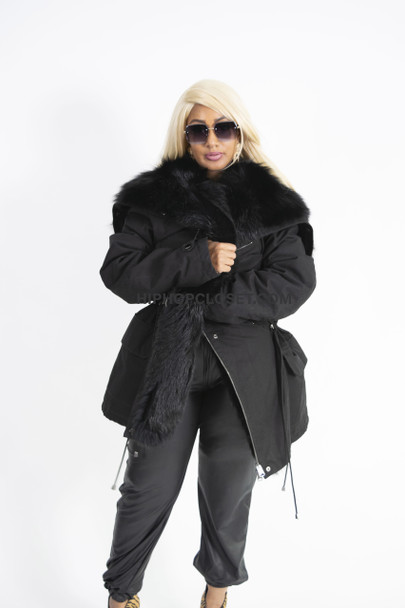 Unisex Black Fox Lined Parka Jacket