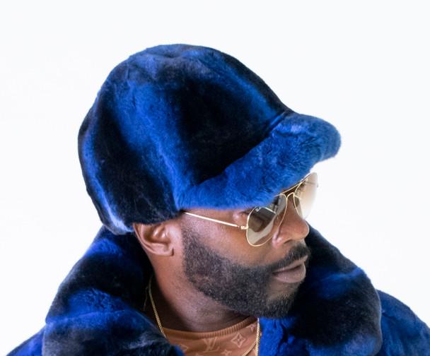 Rex Rabbit Striped Fur Hat