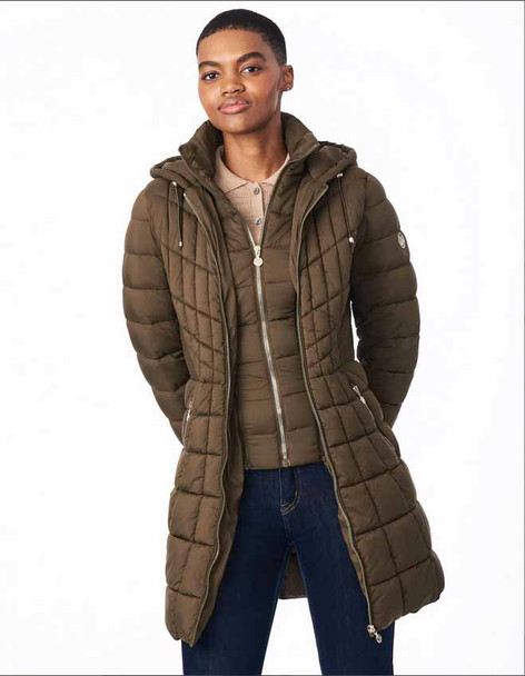 Pack-able Hooded Puffer Coat Olive