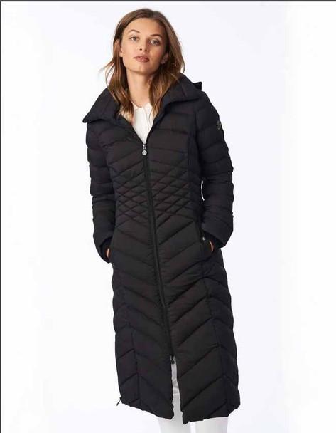 EcoPlume Maxi Coat with Knit Trim