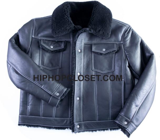 Black Jean Style Sheepskin Jacket