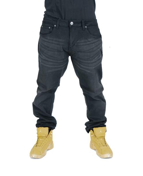 Black Washed Athletic Slim fit Jeans for Men