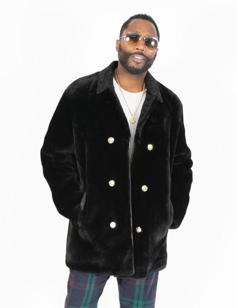 Black Mouton Fur Pea Coat For Men