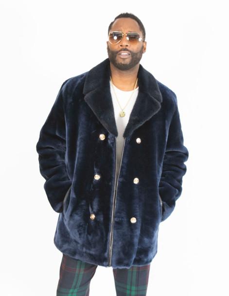 Blue Mouton Fur Pea Coat For Men