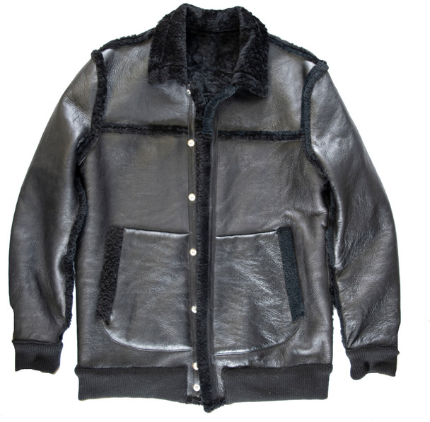Black Sheepskin Bomber Long line Jacket