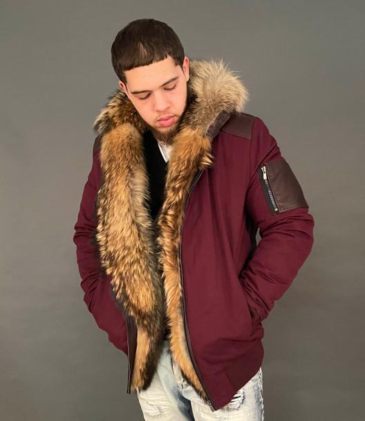 Merlot Parka With Fox Fur Trim Jacket