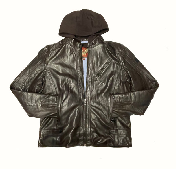 Brown Leather With Removable Hood Jacket