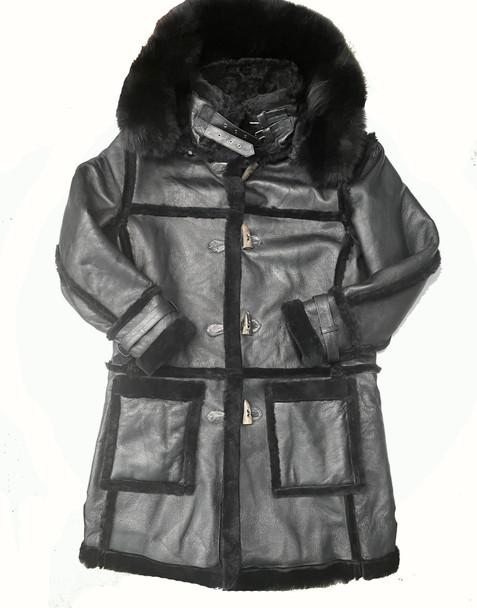 All Black Three Quarters Sheepskin with Fox Hood
