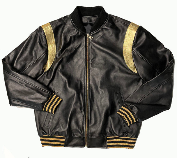 Black And Gold Baseball Leather Jacket