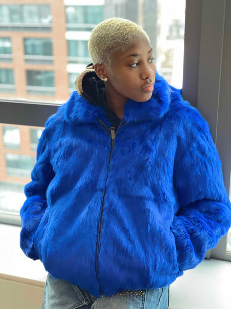 Royal Blue Rabbit Fur Bomber