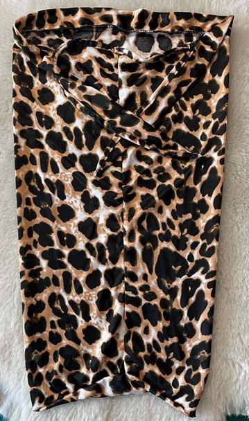 Brown Leopard Patterned Braid Bonnet