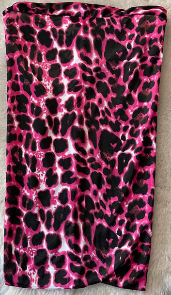 Pink Leopard Patterned Braid Bonnet