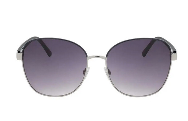Purple Silver Rounded Sunglasses