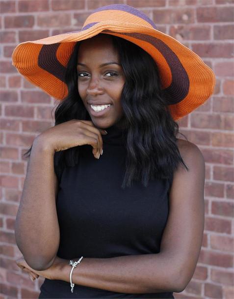 Orange and Purple Striped Beach Hat