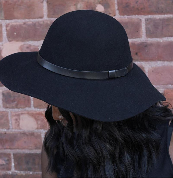 Black Felt Floppy Hat