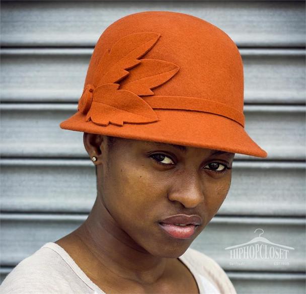 Orange Wool Ladies Flower Hat