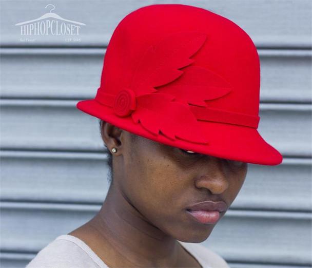 Red Wool Ladies Flower Hat