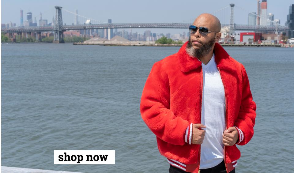 Red Mouton Fur Bomber Jacket for men