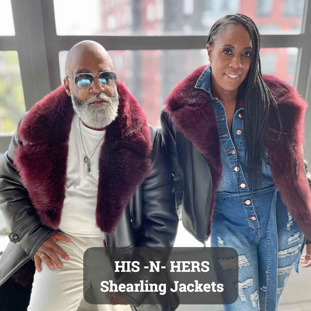His and Hers matching sheepskin shearling jackets