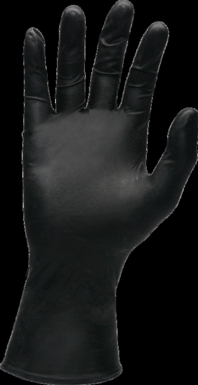 SW MEGAMAN Powder-Free Black Nitrile Flock-Lined Industrial Glove