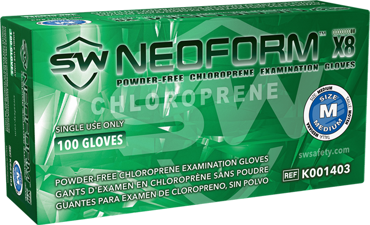NeoForm X8 Chloroprene Powder-Free Exam Gloves, $13.15 per 100 gloves, 10 boxes of 100 per case